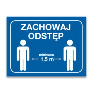 Naklejka Zachowaj odstęp minimum 1,5 metra